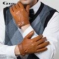 Gours invierno guantes de cuero genuinos de los hombres nueva marca de moda de conducción guantes de pantalla táctil guantes de piel de cabra de piel de cabra negro gsm036