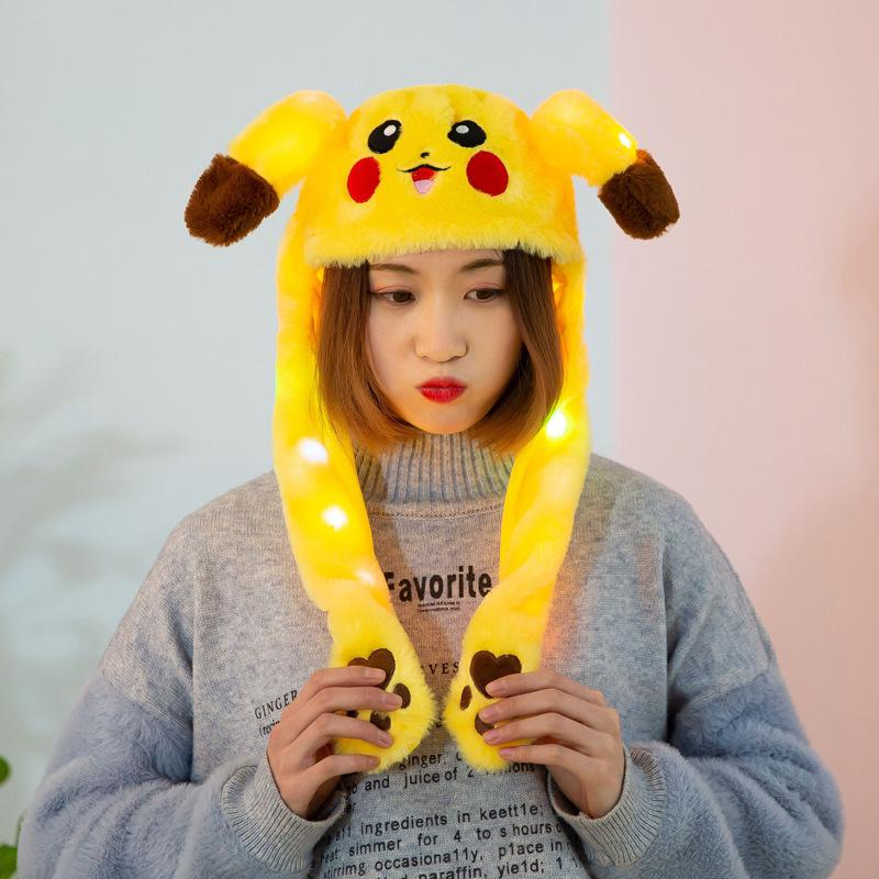 MISSKY Children Adult Girls Hats Cartoon Yellow Color Cute Plush Toy Hat Pinched Ear-moving Glowing Cap For Female