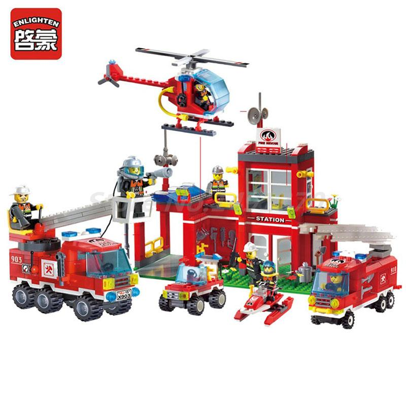 Enlighten Building Block 2 In 1 Fire Fighting Truck Fire Rescue Fire Station 4 Figures Educational Toys For Children Gifts 607pcs enlighten building block fire rescue scaling ladder fire engines 5 firemen educational diy toy for children
