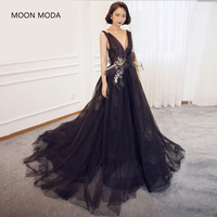 MOON MODA fashion black long evening dress 2018 sleeveless sexy deep V neck plus size gown real photo vestidos de festa