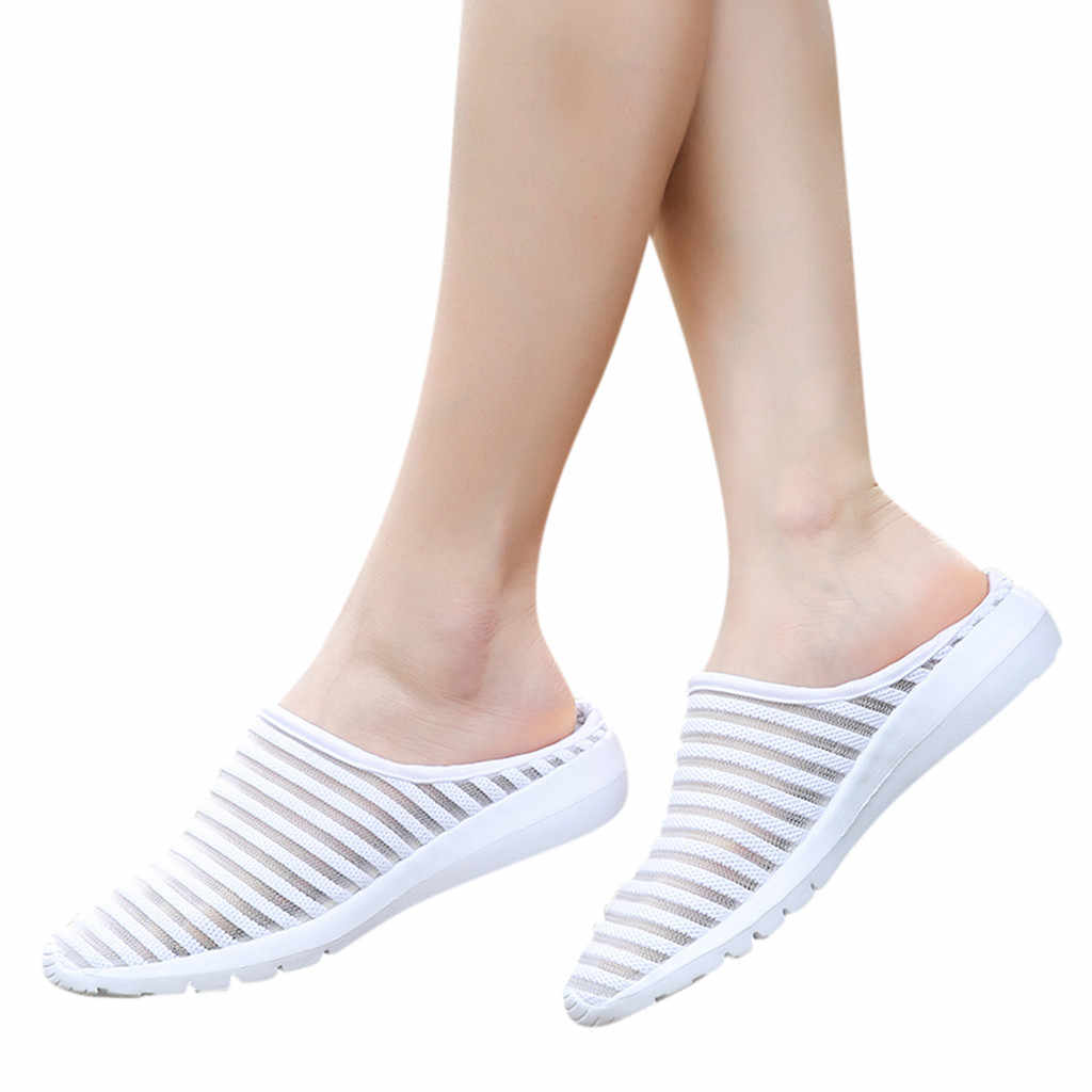 Fashion sandals women Mesh Breathable Flat Bottom Non-Slip Half Drag Casual Shoes Sneakers Sandalias Mujer 2019 Indoor Outdoor