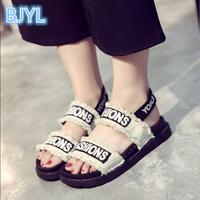 BJYL 2018 Summer new canvas thick bottom 100 catch student sandals female personality flat bottom Roman shoe tide