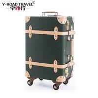 Винтаж чемодан прокатки Чемодан Spinner Для женщин вести дорожная сумка ретро Cabin Trolley дорожные чемоданы на Универсальный колеса