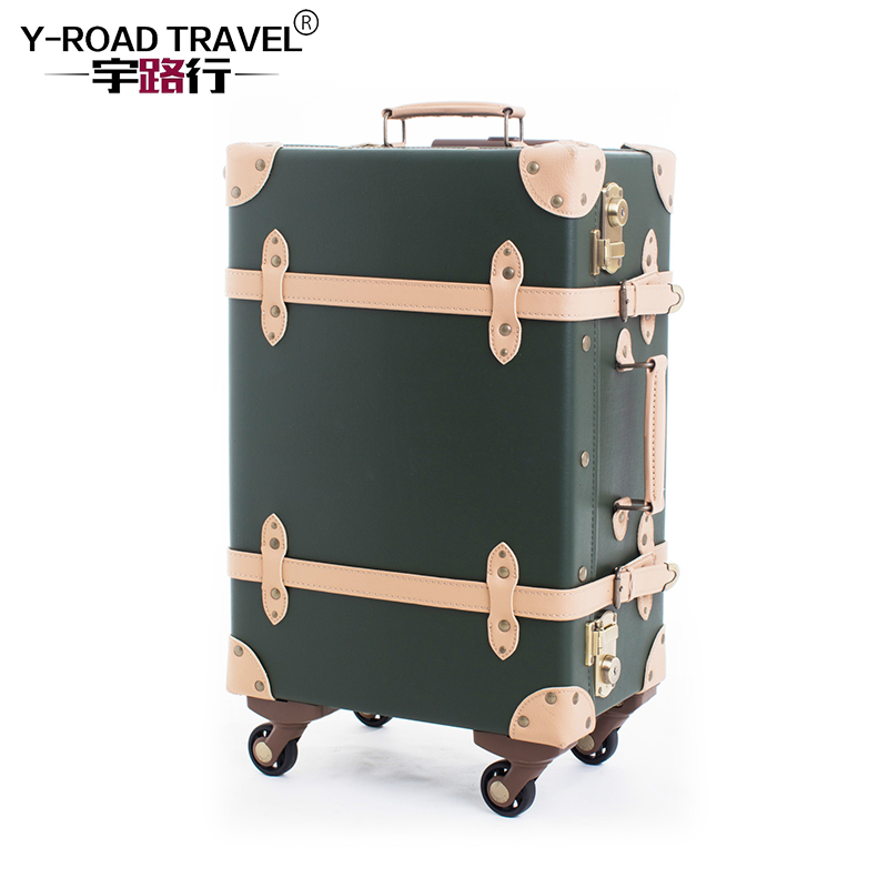 Vintage Suitcase Rolling Luggage Spinner Women Carry On Travel Bag Retro Cabin Trolley Travel Suitcases On Universal Wheels