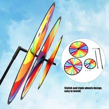 Новая Радужная трехколесная ветряная мельница, игрушка, красочная вертушка, вихрь, садовые вечерние игрушки в виде ветряной мельницы для детей