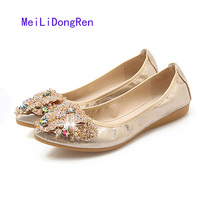 2017 Summer New Colorful Diamond Ladies Flat Shoes Shallow Mouth Pointed Toe Rhinestone Butterfly Wedding Shoes