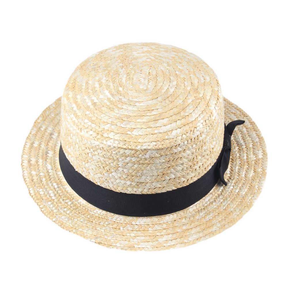 c0f708fedf243 ... Women Lady Boater Summer Sun hat Beach Ribbon Round Flat Top Beige Straw  Fedora Panama Hat ...