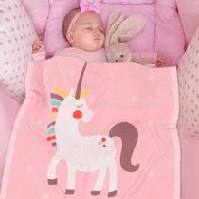 Get more info on the Baby Blankets Bunny Unicorn Knitted Newborn Bebes Muslin Swaddle Wrap Blanket Kids Boys Girls Milestone Quilt Children Accessory