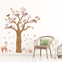 Colorful Birds On Flowers Tree Wall Stickers Deer Snail Wall Sticker Home Decor For Kids Room