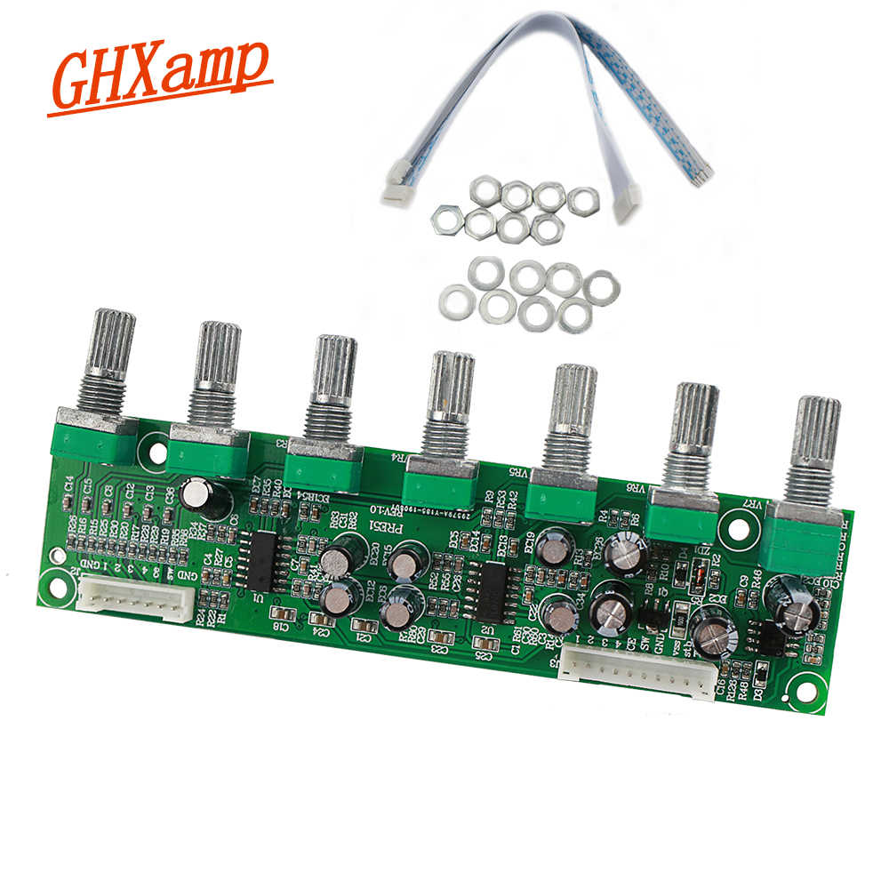 GHXAMP 5.1 Preamplifier Tone independent Channel Volume + Bass Frequency Adjustment 6 Way For 5.1 Amplifier DIY DC12-24V NEW