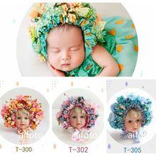 Nep Bloemen Motorkap Hoofdbanden voor Meisje Pasgeboren Baby Fotografie Props Bloemen Hat Kleurrijke Motorkap Fotografia Accessoires Studio