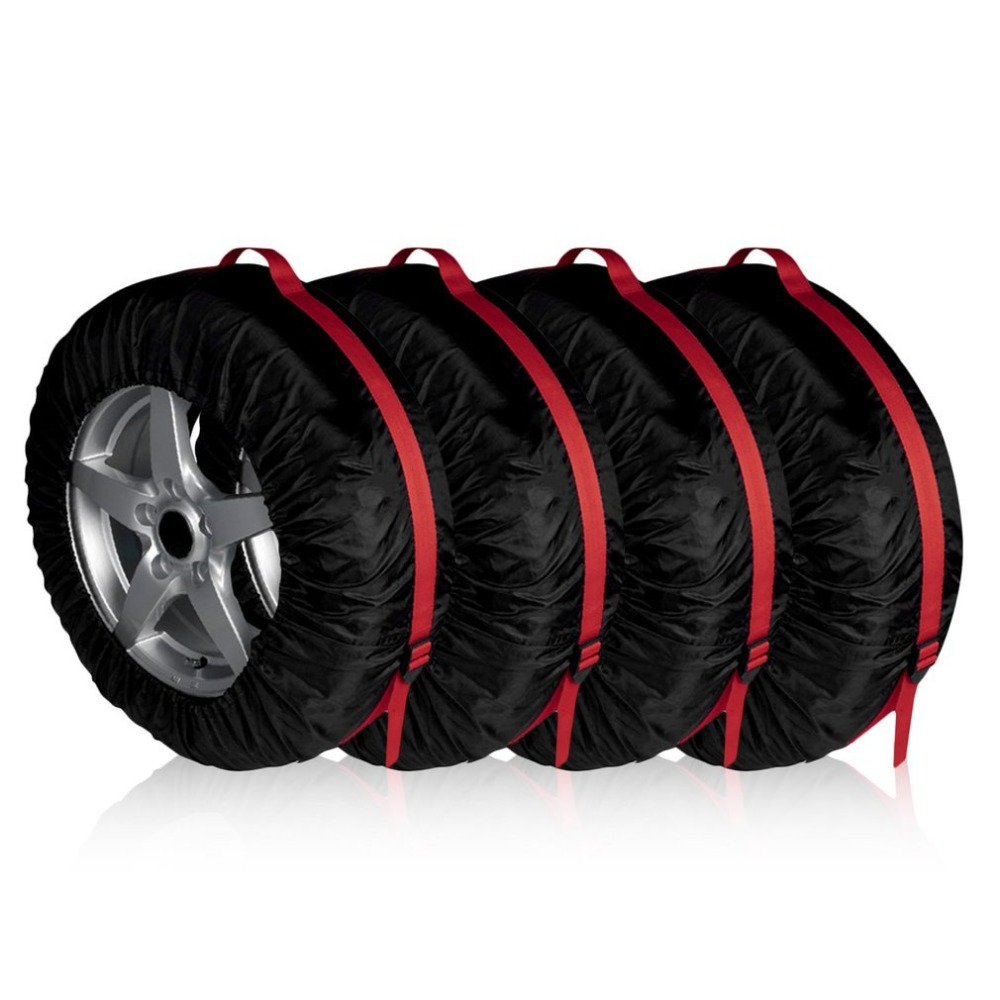 4 Pieces Car Tires Storage Bag Portable Automobile Tyre Accessories Spare Tire Cover Durable Wheel Protecting for 16-22 inch