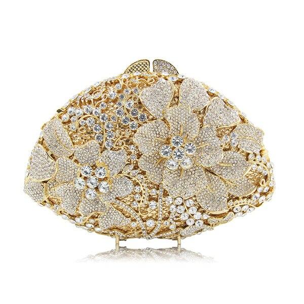 fashion designer Women new wallet   bolsa feminina Vintage flower handbag elegant wedding party Clutch evening bag purse gold