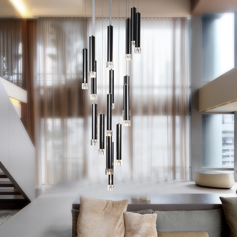22 dining room pendant light modern 16 pcs black aluminum tube clear crystal cube living room. Black Bedroom Furniture Sets. Home Design Ideas