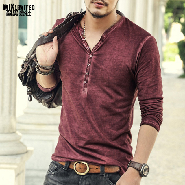 Brand Designer Men Cotton Vintage Henry T Shirts Casual Long Sleeve High quality Men old color Cardigan T shirt  2018 hot sale