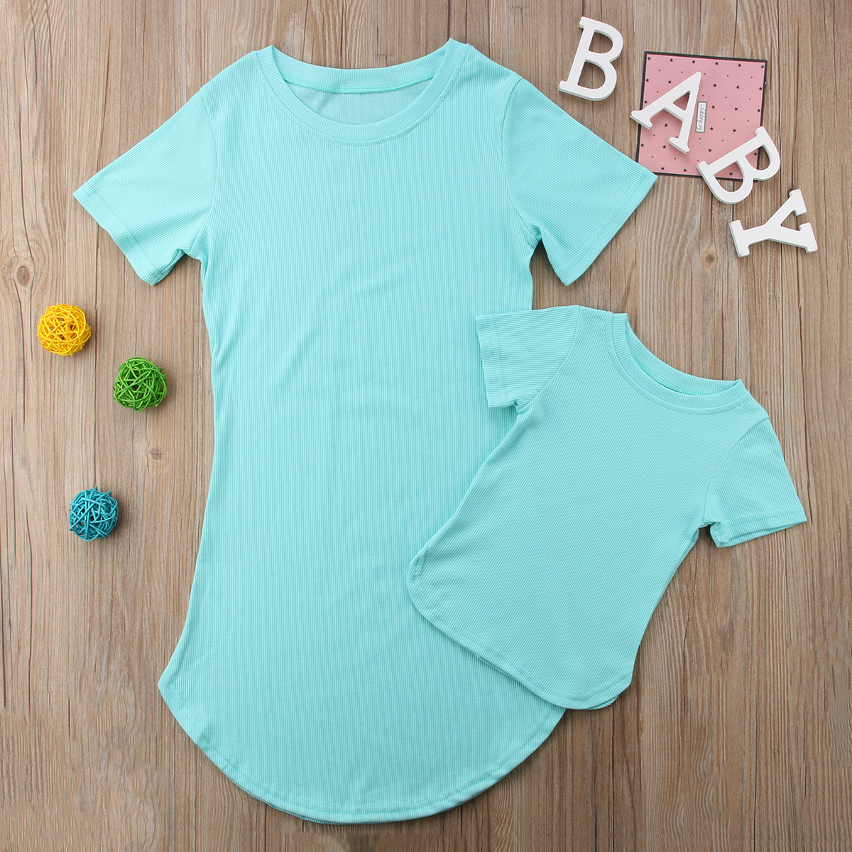 HTB1nr8tKf5TBuNjSspcq6znGFXa2 2019 Summer Mom Daughter Short Sleeve T shirt Dress Family Matching Outfits Baby Kid Women Party Dresses Cotton Clothes Dropship