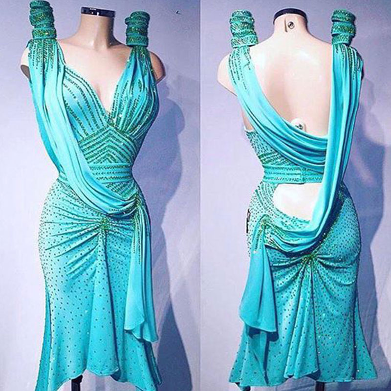 Latin Dance Dress Women Sexy Backless Latin Dance Dress Blue Rhinestone Sequins Ballroom Dance Dress Tango Rumba Cha Cha Dress