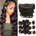 Ear To Ear Lace Frontal Closure With Bundles Malaysian Virgin Hair Body Wave With Closure 7A Human Hair 3 Bundles With Closure
