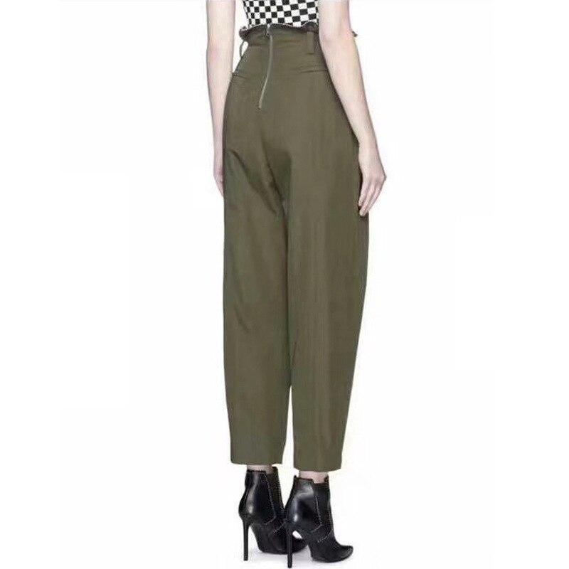 OXANT бисер большой размер шаровары для женщин молния армейский зеленый длина лодыжки брюки женские брюки с высокой талией повседневные - 3
