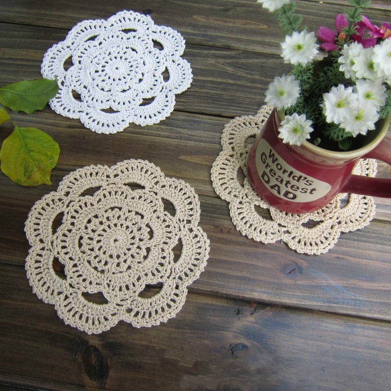 PD035 Free shipping Handmade Crochet Coaster 16cm Round flower Lace Doilies Table Place mats cup mat 24pcs/Lot