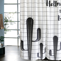 Cartoon Modern Style Bathroom Shower Curtains Simple Design Waterproof Mold Resistant Curtain Thick Fabric Black White