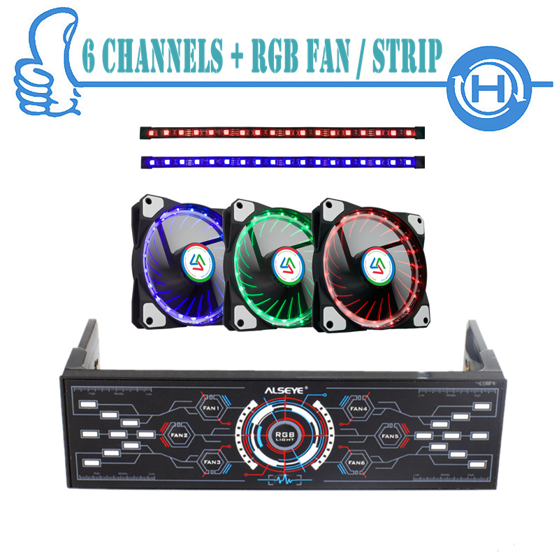 ALSEYE Computer Fan Controller With LED RGB Fan & RGB Strip Set, 1100RPM Color Variable Cooling Fans, Dual Strips For Computer