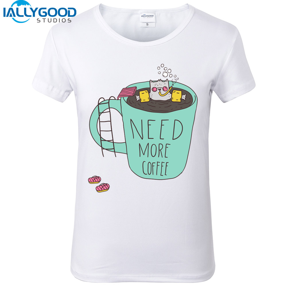 New Fashion Summer harajuku T-shirts Funny Coffee Cup Female t-shirt Short Sleeve kawaii Hipster White T shirt Tops S521