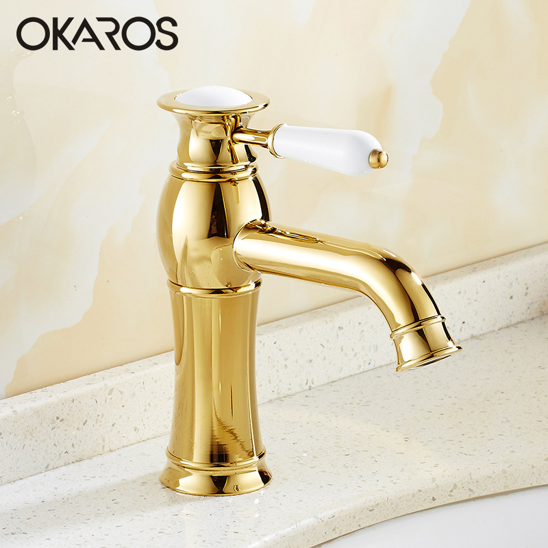 OKAROS Basin Faucet Bathroom Faucet Solid Brass Chrome FinishWith White Handle Single Handle Hot Cold Water