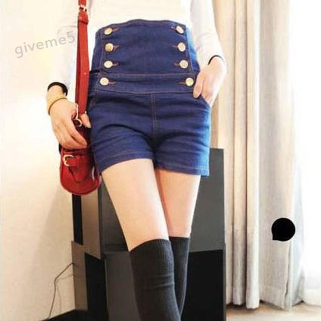 2015 calças de brim Novas das mulheres da Moda Verão Cintura Alta Denim Stretch calções Magro Ocasional Coreano mulheres Shorts Jeans Quentes Plus Size 34