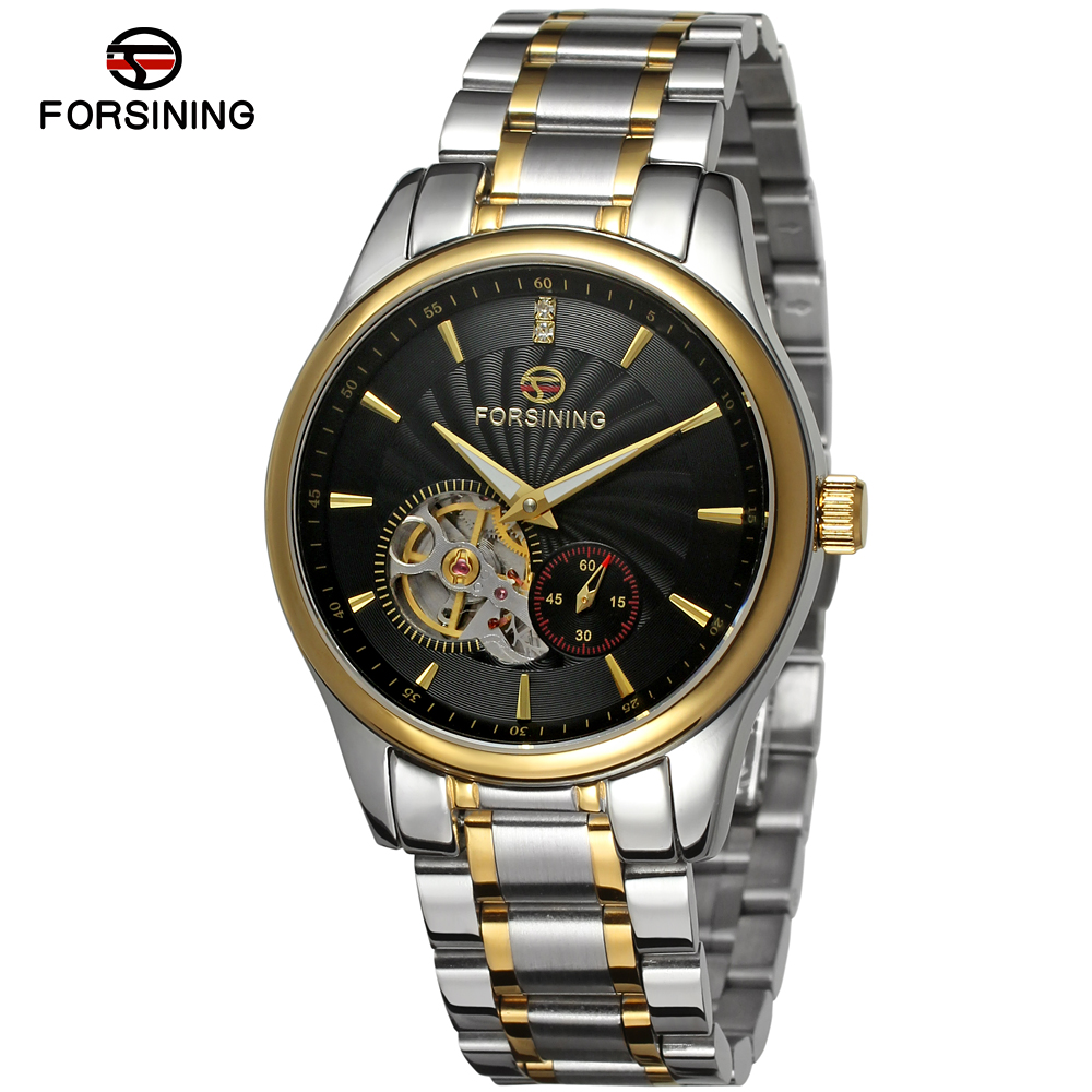 FORSINING Brand Mens Luxury Skeleton Stainless Steel Automatic Mechanical Watch Fashion Elegant Wristwatch Relogio Releges fashion winner men luxury brand gold skeleton genuine leather watch automatic mechanical wristwatches gift box relogio releges