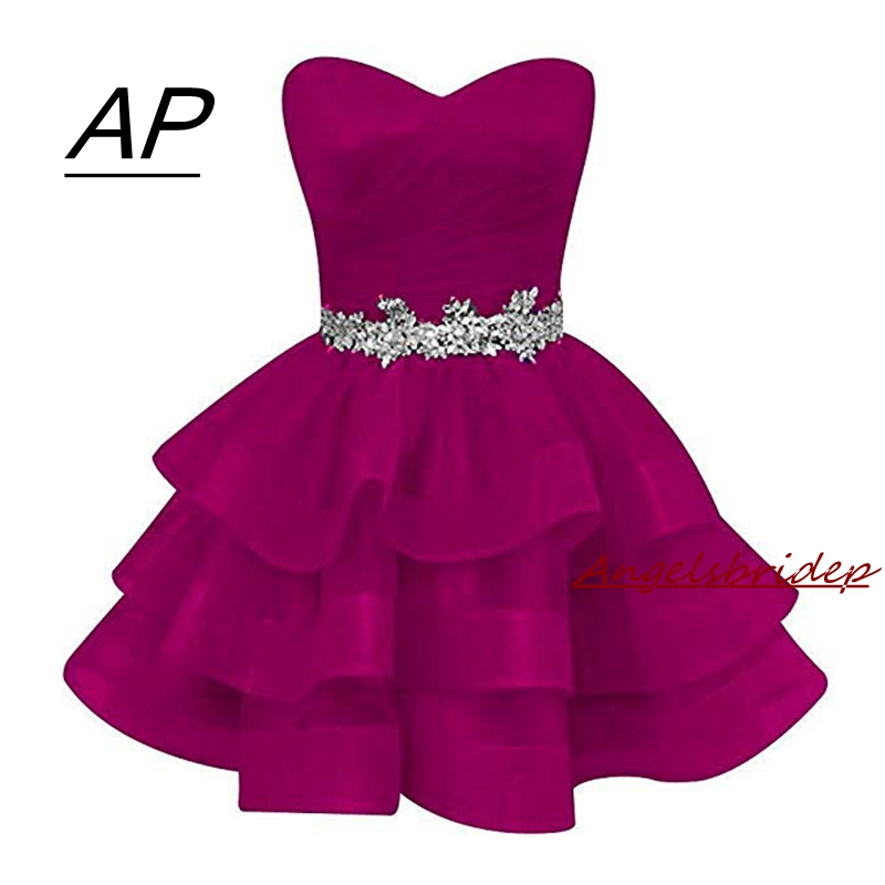 Fashion Ball Gown Organza Homecoming Dress 2019 Short Sweetheart Crystals Sash Party Dresses Plus Graduation Dresses Beads Gowns(China)