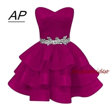 Fashion Ball Gown Organza Homecoming Dress 2020 Short Sweetheart Crystals Sash Party Dresses Plus Graduation Dresses Beads Gowns