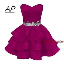 Moda suknia balowa Organza Homecoming sukienka 2020 krótki Sweetheart kryształy Sash sukienek Plus suknie Graduation koraliki suknie