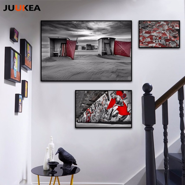 Wall Art Wall Decor Canvas Print Painting Red Black White Street