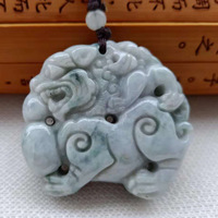 Natural A cargo jadeite double sided laughing Buddha Shuanglong lady Jades Pendant FREE SHIPPING