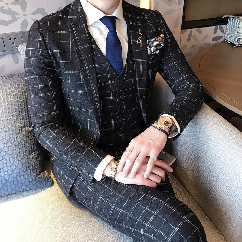 Anzüge Folobe 3 Stück Schlank Karierten Anzug Männer Überprüfen Anzüge Für Bräutigam Kostüm Mariage Homme Business Casual Büro Anzug Männer Smoking Plus 5xl Anzüge & Blazer