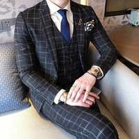 2017 Plaid Suits Mens British Style Terno Slim Fit Groom Wedding Dress Social Club Outfits Elegant