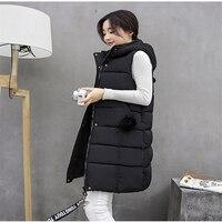 2018 New Fashion Women Winter Vest Waistcoat Womens Long Vest Jacket Sleeveless Solid Color Down Cotton Warm Vest Female VE054