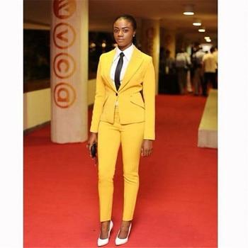 Custom Yellow Women's Pants Suit Office Ladies Formal OL Pants Work Suits 2Pcs Sets Female Formal Work Wear Sets Jacket+Pants