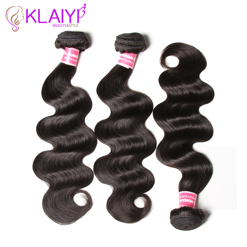 Klaiyi Hair Bundles Body Wave Peruvian Hair Texture 3 Bundles Remy Hair Weave Natural Color 100% Human Hair Extensions