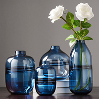 Modern minimalist multicolo Small mouth glass vase dried flower containers high quality large vase home decoration glass Vase