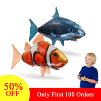 RC Animal Toys Shark/Clown Fish Air Swimming Infrared Remote Control Balloons Kids Gift Party Decoration