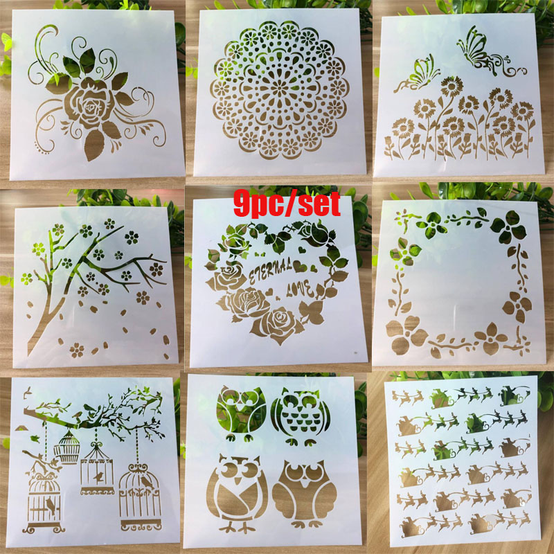 9pc Stencil Rose Heart Openwork Painting Template Embossing Craft Bullet Journal Accessories Sjablonen For Scrapbooking Reusable