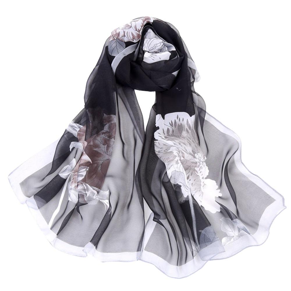 New Fashion Women/'s Long Soft Chiffon Floral Scarf Wrap Shawl Stole Scarves
