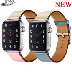 EIMO Pulseira ремешок для apple watch группа iwatch Группа 42 мм 38 мм 44 мм 40 мм я часы correa коровья кожа ремешок для appel watch 4