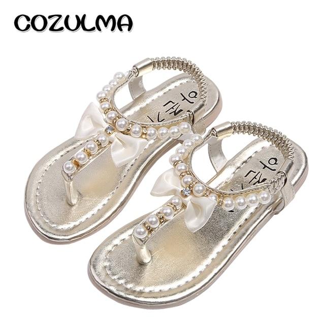 cb90d7159 COZULMA Girls Sandals Summer Shoes Girls Flip Flops Kids Beach Sandals  Princess Rhineston Beading Shoes Child Gladiator Shoes
