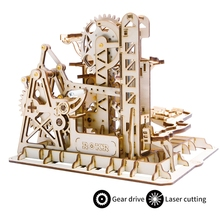 Assembly-Toy Coaster Game Building-Kits Waterwheel Wooden Model Robotime Diy Marble Run