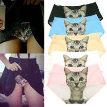 Calcinha estampada engraçada feminina, roupa íntima para mulheres de gato, estampa de gato 3d, anti império, branco/preto, venda imperdível