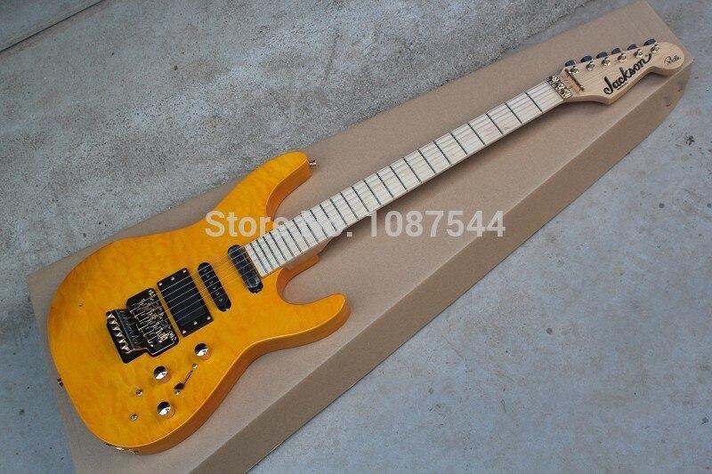 Envío libre mejores instrumentos musicales EMG pickup Jackson SL2H usa solista llama amarilla guitarra eléctrica con pastillas activas
