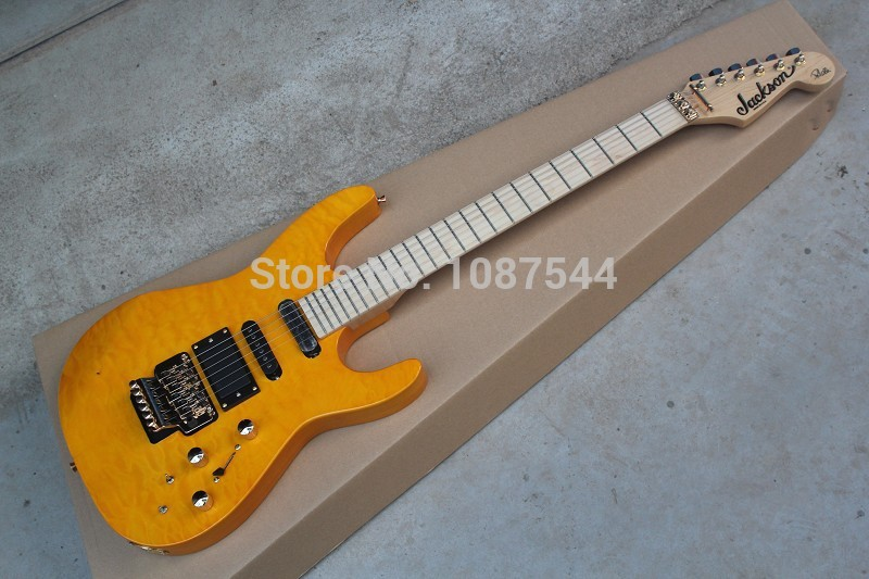 free shipping best Musical Instruments EMG Pickup JACKSON SL2H USA SOLOIST FLAME yellow Electric Guitar with active pickup